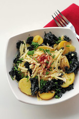 Kale, Cheddar, New Potatoes and Saffron