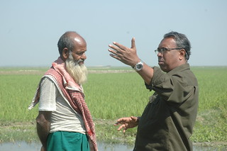 Shooting break- getting directions from a Kishoreganj haor farmer