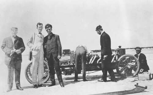 Henry Ford and Frank Kulick with the Ford Model K race car at Atlantic City, New Jersey, circ 1905