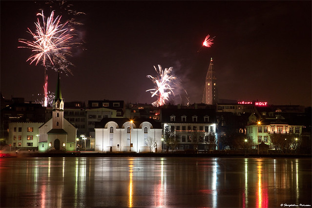 New Year's eve in Reykjavik, Iceland