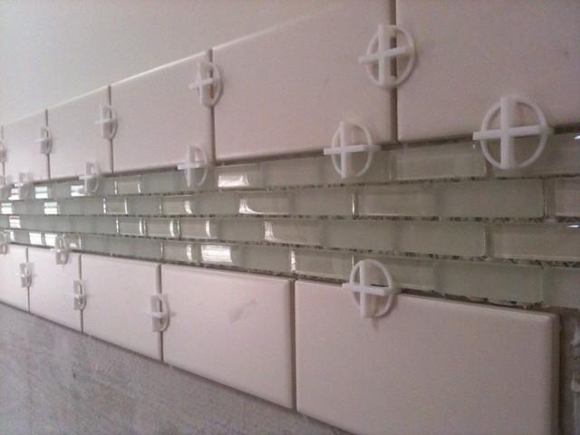 Matte White Tile Kitchen Backsplash