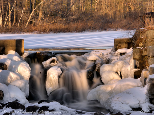 winter ice water river frozen waterfall dam