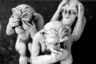 Statues of monkeys: see no eveil, hear no evil, speak no evil