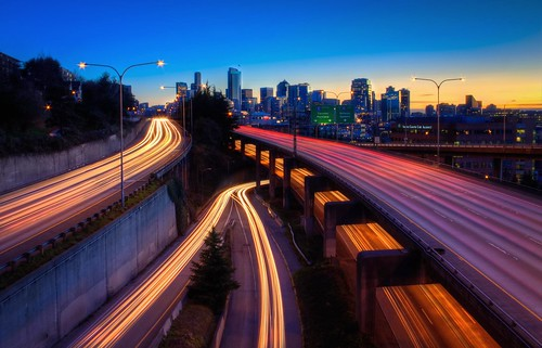 seattle blue sunset pacificnorthwest rushhour bluehour washingtonstate hdr freeways downtownseattle lightstreams photomatix lightroom3 canonrebelxsi seattlehdr fresnatic photoshopcs5 lakeviewboulevardoverpass