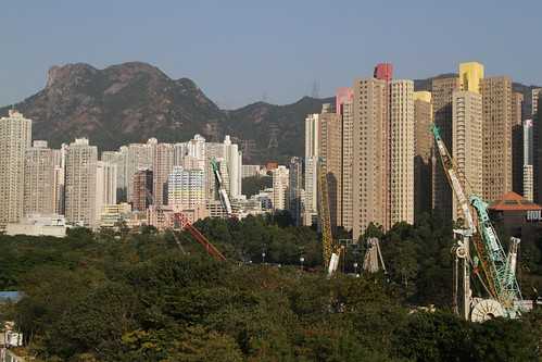 Shatin to Central Link construction site in the shadows of Lion Rock at Diamond Hill
