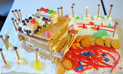 gingerbread house(0.0), christmas decoration(0.0), torte(0.0), cake(1.0), sweetness(1.0), baked goods(1.0), gingerbread(1.0), food(1.0), icing(1.0), birthday cake(1.0), dessert(1.0),