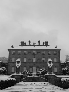 B&W: Pollok House under a Winters Sky
