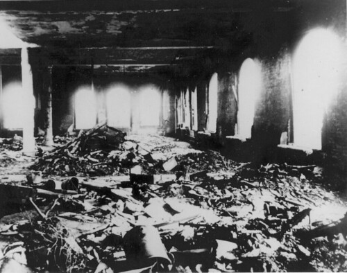 Interior view of the tenth-floor work area in the Asch Building after the Triangle fire