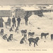 Photograph of postcard with mail team leaving Circle City for Ft. Gibson, Alaska