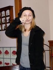 Modeling her first fingerstache choice