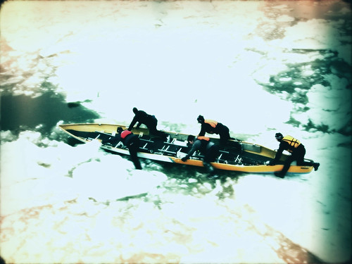 Ice canoeing across the St. Lawrence.
