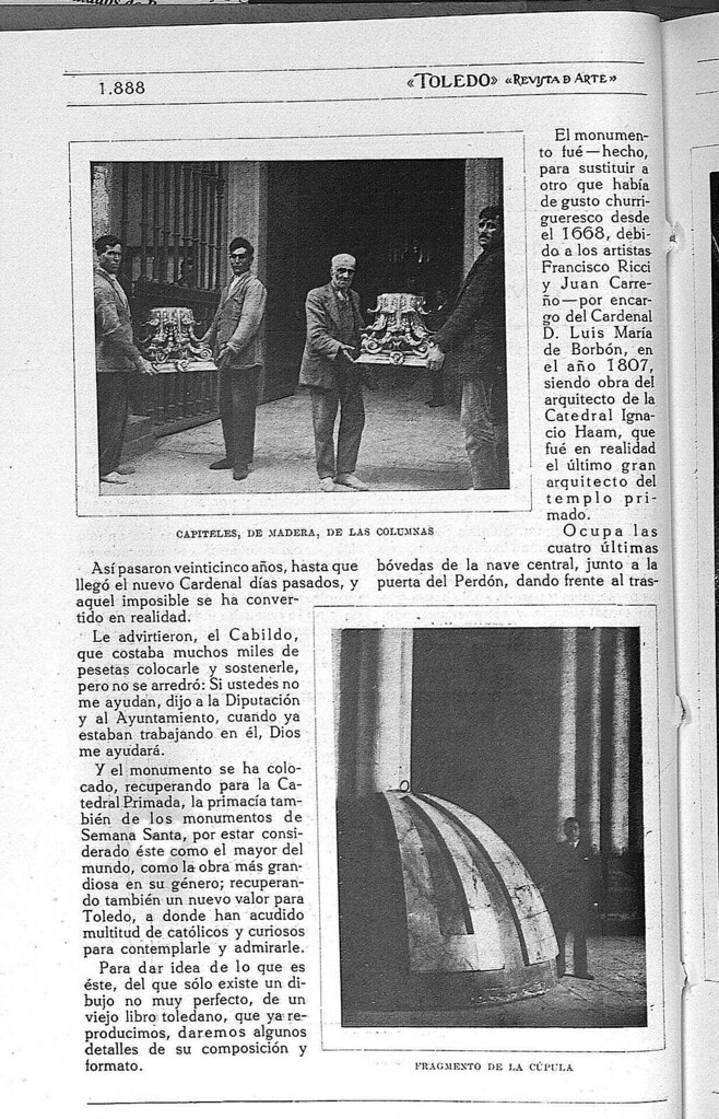 Reportaje sobre el Monumento de la Catedral de Toledo obra de Ignacio Haan publicado en abril de 1928 en la Revista Toledo. Página 2