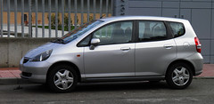automobile, vehicle, subcompact car, city car, honda fit, land vehicle,