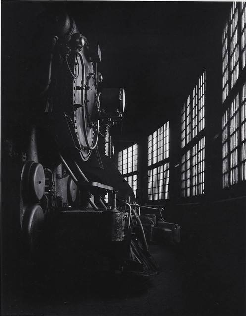 Canadian Pacific Railway locomotive number 5145 in roundhouse, Montreal, Quebec, by David Plowden 1960