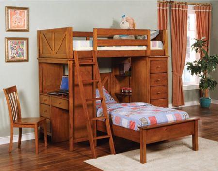 263 Oak Bunk bed with desk $1025
