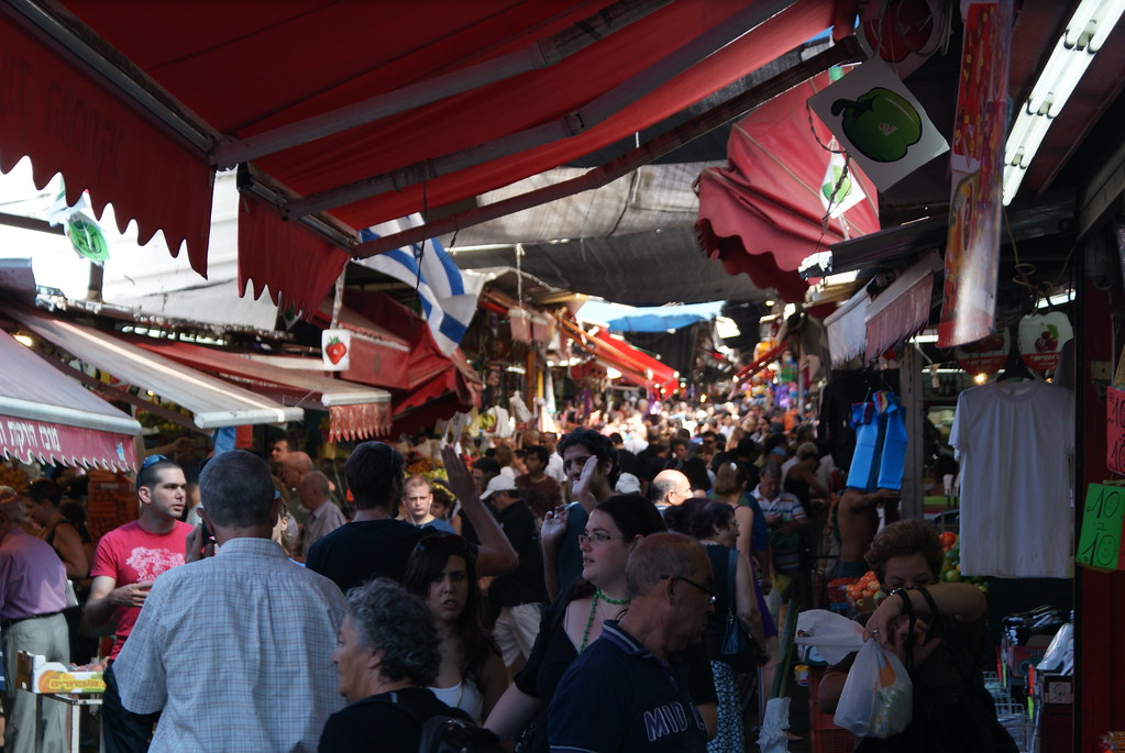 Market stalls at the Tel Aviv Carmel Market.