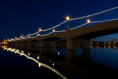 bridge blue light arizona lake reflection mill water night town nikon az clear hour paintshoppro avenue tempe topaz d5000
