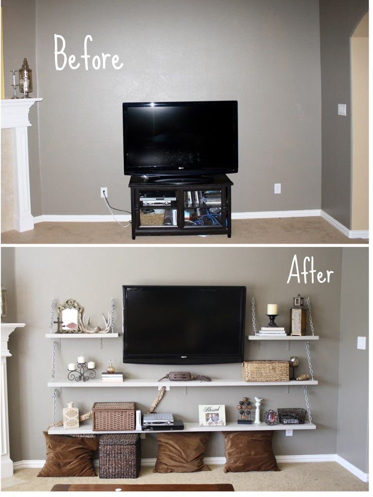 Life thru a linds diy living room media shelves - Shelves design for living room ...