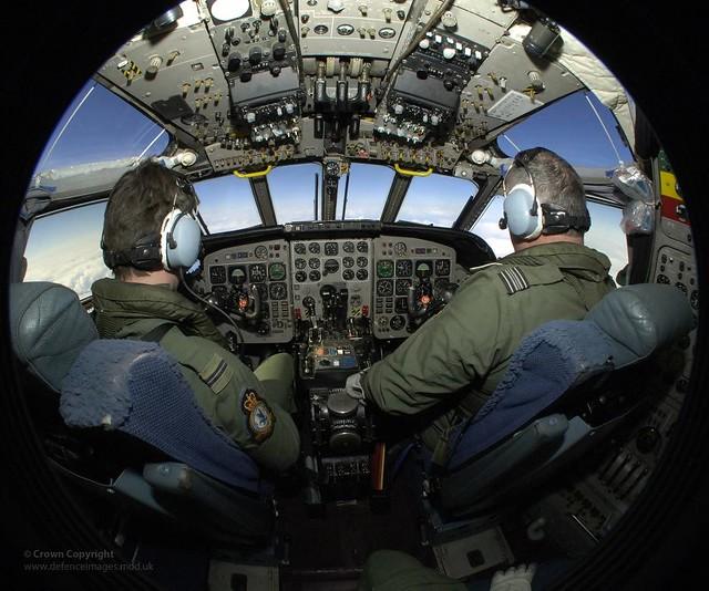RAF Pilot Training in Cockpit of Nimrod Aircraft