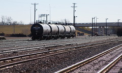 Five PPG tank cars in a switchyard at Wichita Falls TX