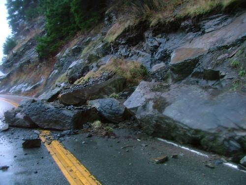 Large boulders block Chuckanut Drive