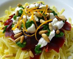 spaghetti(0.0), carbonara(0.0), pasta salad(1.0), vegetable(1.0), vegetarian food(1.0), bucatini(1.0), pasta(1.0), fettuccine(1.0), produce(1.0), food(1.0), dish(1.0), cuisine(1.0),