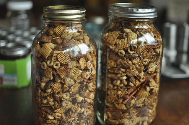 chex mix in jars