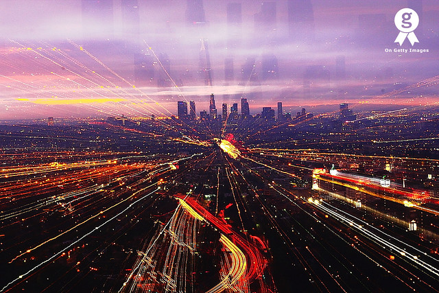 Light streams going to Downtown Los Angeles