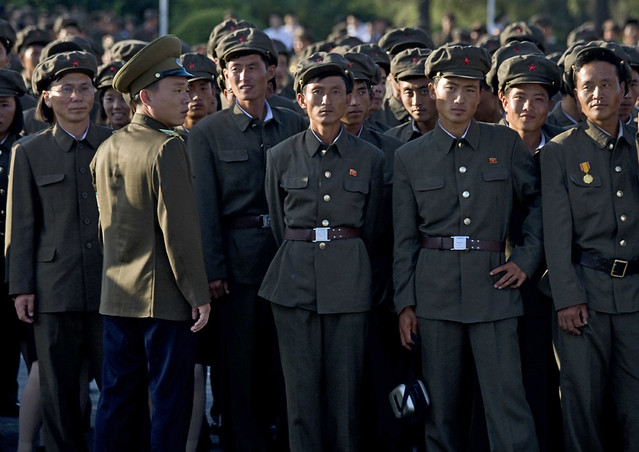 North korean soldiers. It is not forbidden to smile. Pyongyang North Korea