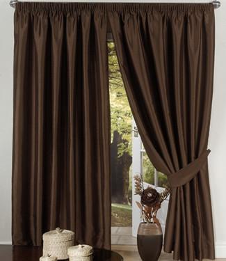 Set of 2 window panels curtains in pure silk taffeta ebay for Tende color marrone