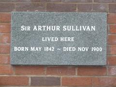 Photo of Arthur Sullivan grey plaque