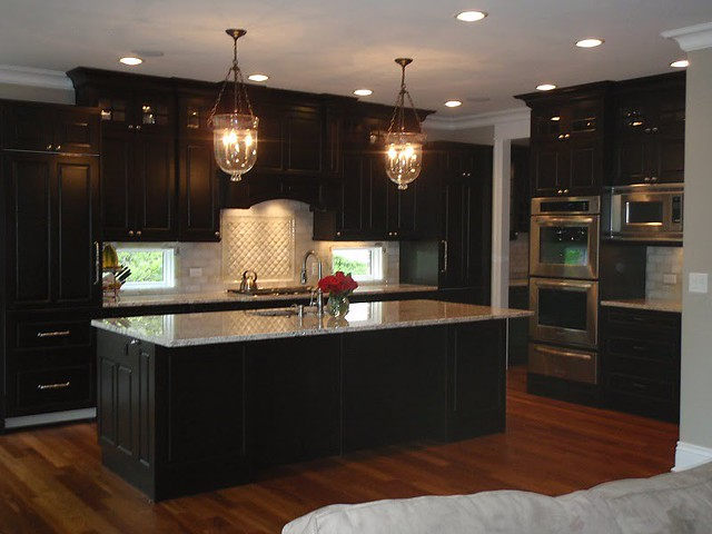 Wood floor with dark cabinets flickr photo sharing for Dark wood kitchen units