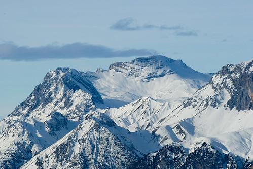 blue winter sky white mountain snow mountains alps austria view peak seefeld