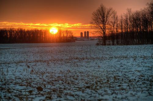 winter sunset ohio snow cold farm