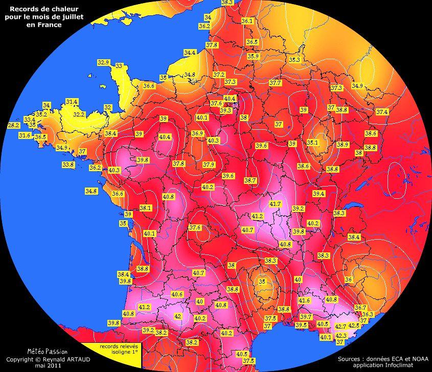 records de chaleur des températures maximales pour le mois de juillet en France Reynald ARTAUD météopassion