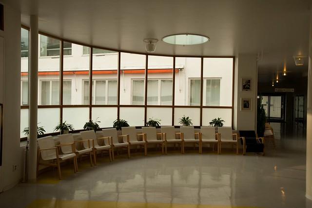 El interior del sanatorio, con muebles diseñados por Aalto