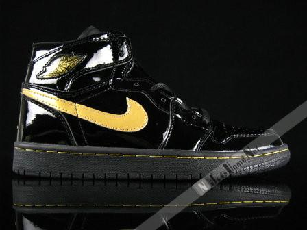 90d3abbe3718 ... Air Jordan 1 I Retro Patent Leather Black Metallic Gold
