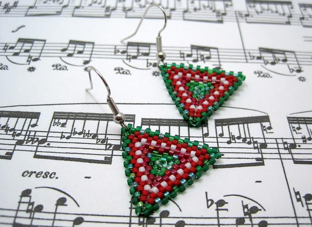 Peyote triangle earrings