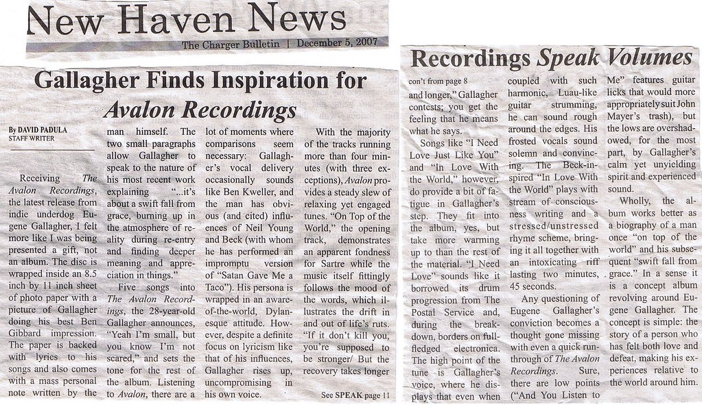 New Haven News - WNHU artical - December 5, 2007 - eugene avalon recordings review
