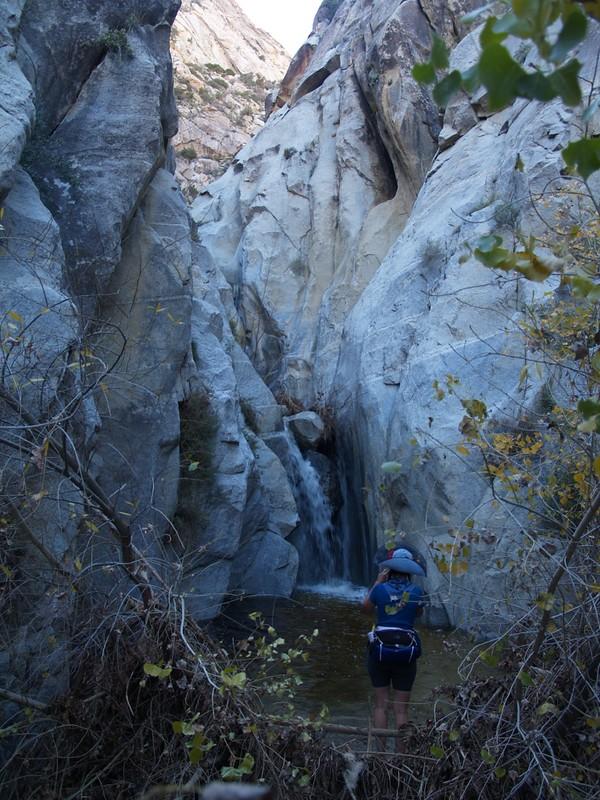 Vicki and a waterfall