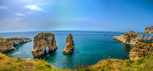 beirut raouche lebanon hdr blue sky nikon sea beach coast outdoor water pigeonsrock pano panoramic panorama clouds