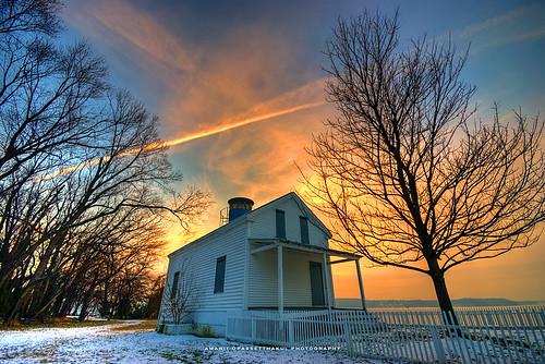 winter lighthouse house snow tree alexandria silhouette sunrise virginia bravo houseoftherisingsun jonespointlighthouse jonespointpark