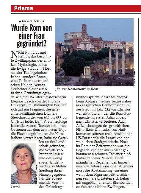 GESCHICHTE - Wurde Rom von einer Frau gegründet? / [Roma è stata fondata da una donna?] DER SPIEGEL (26/05/2003) n. 22/2003, p. 158.