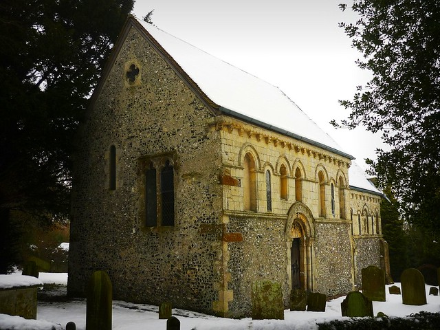 The church of St Nicholas, Barfrestone, Kent, England