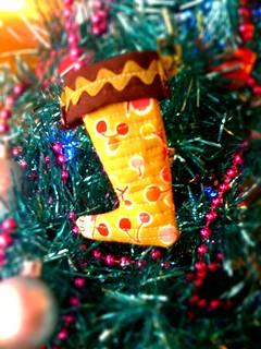 Quilted mini peep boot ornament!
