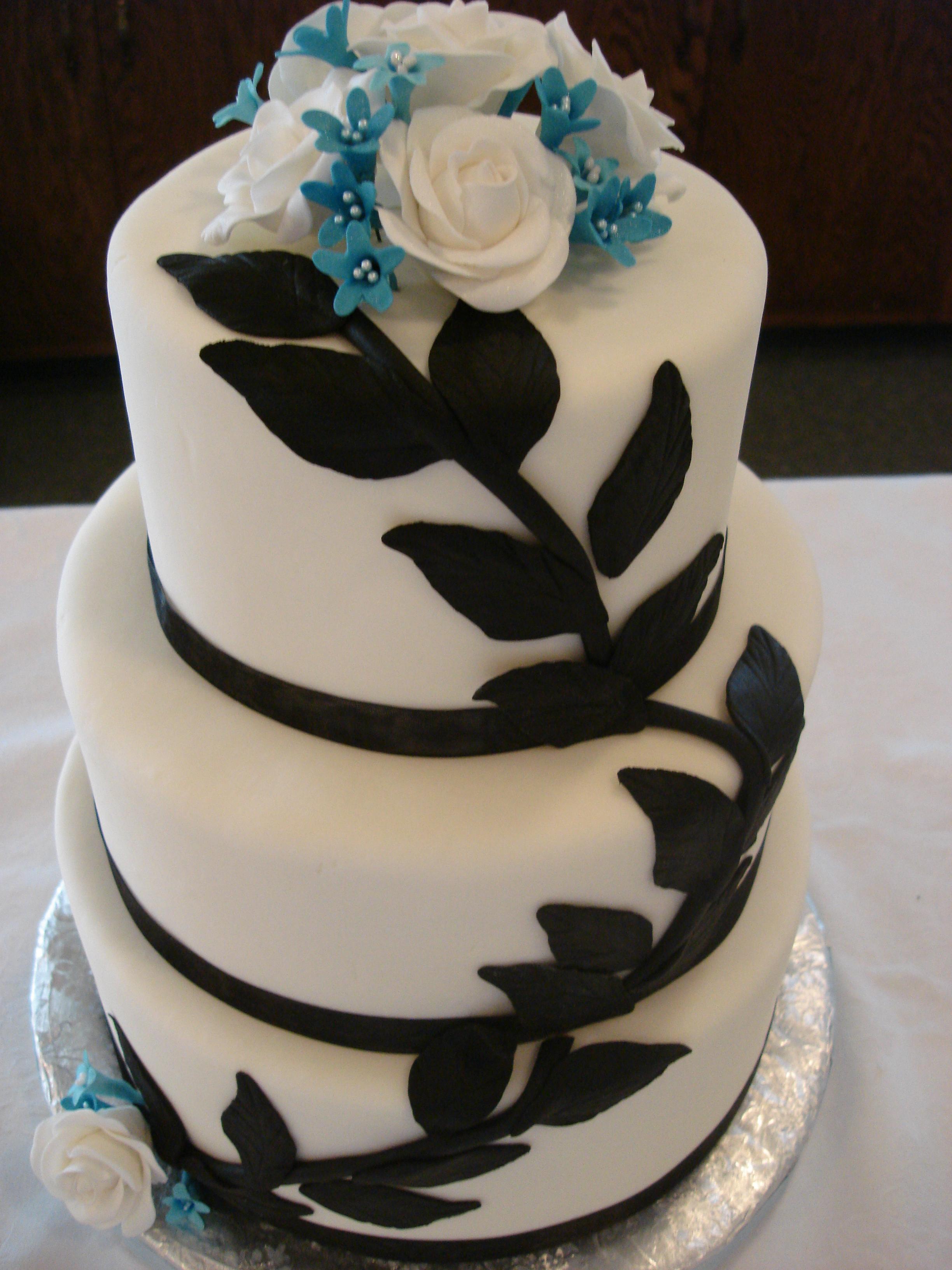 Black & Blue Floral Wedding Cake