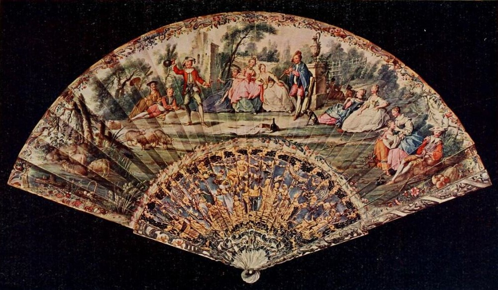 Vintage Fan: 18th Century French c1750 - Pastorelle in the style of Watteau with skin mount, stick mother of pearl, finely pierced, carved and embossed with a sacrificial scene in gold