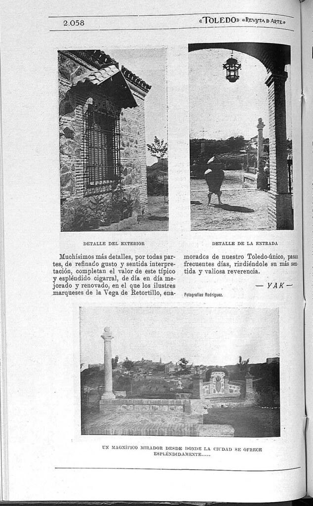 Artículo sobre el Cigarral el Bosque de Toledo. Fotografía publicada en la Revista Toledo en febrero de 1929