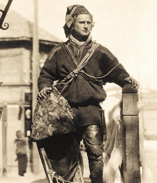 Buen Addja - a Sami reindeer herder from Karasjok Norway b. 1908 - sepia. Buen Addja er kallenavnet til en samisk reinsdyrgjeter fra Karasjok-området i Norge. Han var født i 1908.