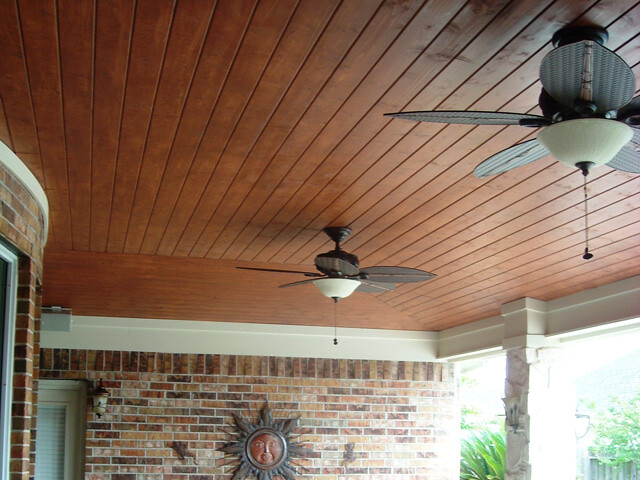 Vaulted pine tongue and groove ceiling under patio cover in Katy Grand Lakes | Flickr - Photo ...